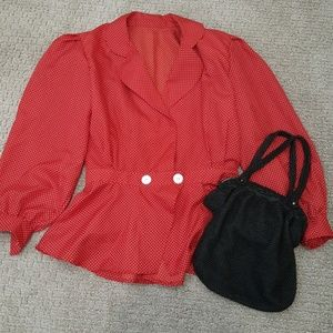 Tops - Vintage-inspired red top and black beaded purse